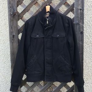 TNA black fitted bomber w/ faux fur lining, zip